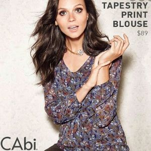 CAbi Tapestry Print Long Sleeve Tunic Size M